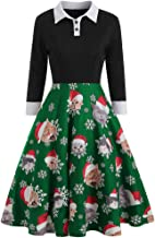 iLOOSKR Christmas Party Dress Women Notched Button Down Vintage Snowflake Gift Print Patchwork Dress