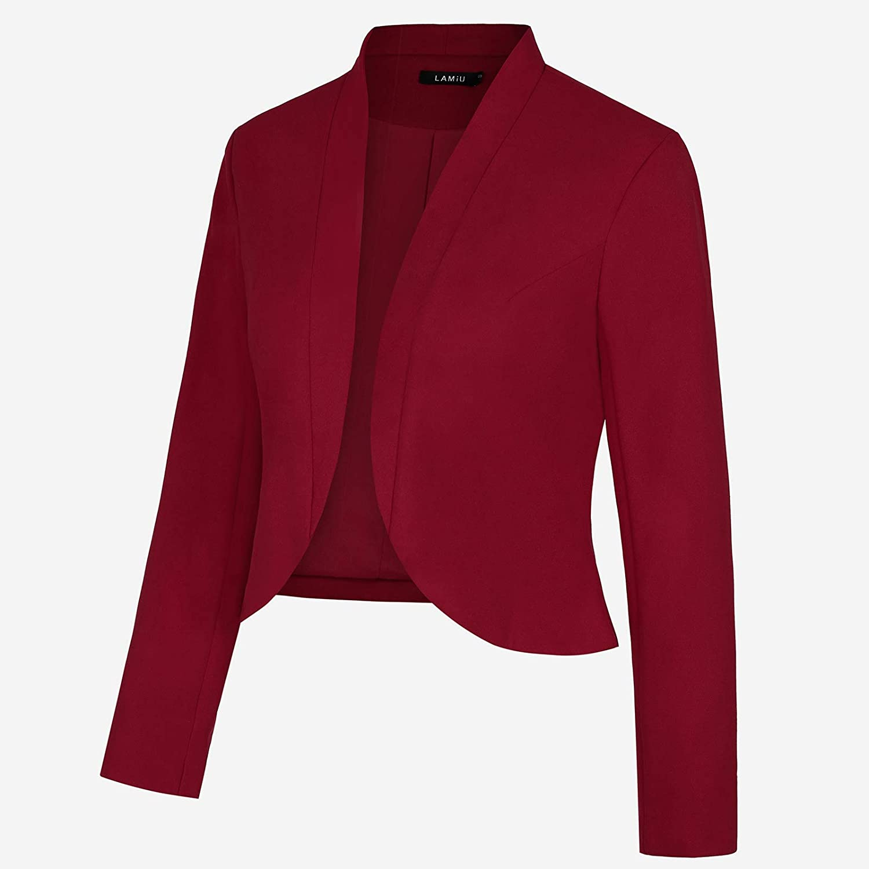 MINTLIMIT Damen Blazer Kurz Jacke Langarm Offener Leicht Bolero Cardigan Arbeit Büro Anzugjacke Weinrot