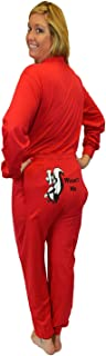 Red Union Suit Men & Women Onesie Pajamas with Funny Butt Flap Wasn't Me Skunk