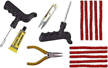 DELHI TRADERSS Complete Tubeless Tyre Puncture Repair Kit (Nose Pliers + Cutter + Rubber Cement) for All Bikes