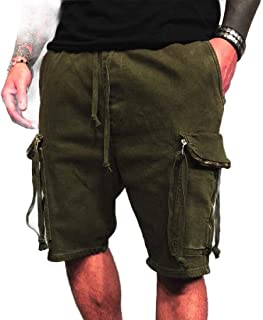 MK988 Mens Multi Pockets Casual Loose Drawstring Cargo Shorts