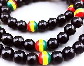 Lingduan Jamaican Rasta Bracelet And Necklace Set - Handmade Jewelry - Flag Of Jamaica Tricolor Bracelet Men Women Fashion Jewelry