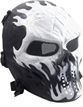 Senmortar Airsoft Mask Full Face Skull Masks Tactical Eyes Protection Creepy Costume for Paintball Halloween Cosplay Party BBS Gun Shooting Game Captain Wildfire Black Silver Grey Green Skeletons