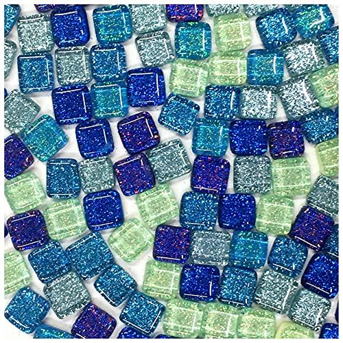 Fragmentos de azulejos de colores 120 g 70 piezas de lentejuelas de mosaico de cristal brillante 1-2cm triángulo cuadrado BRICOLAJE Mosaico de piedra multicolor Artesanía de mosaico ( Color : 12 )
