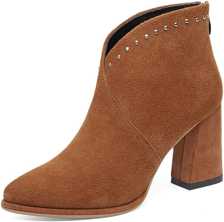 Booslipss, Booslipss, Booslipss, Fall  Winter Point Thick Heel hög klack Martin stövlar Ladies Plus sammet mocka Non -Slip -Resistent Ankle stövlar (Färg  B, Storlek  38)  Beställ nu