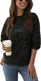 Qearal Women's Fall Leopard Print Long Sleeve Crew Neck Casual Sweatshirt Pullover Tops Shirts