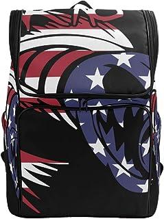 DEZIRO Mochila de viaje con bandera americana sin miedo a peces, bolsa grande para la escuela, mochila multifuncional para mujeres y hombres, 45,7 x 35,7 x 17,7