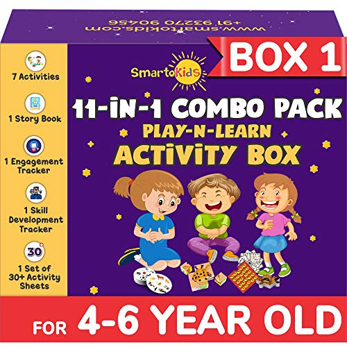 SmartoKids Activity Box for 4, 5 & 6 Year Old Baby Boys & Girls (11-in-1 Set) – Learning & Educational Gift Pack of Play-based Explorer Toys, Puzzles, Board Games, Colours and Books with Indian Values