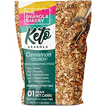 TGB Cinnamon Pecan Keto Granola | 1g Net Carb Snack | Low Carb Nut Cereal | Healthy Artisanal Food 11 Ounces