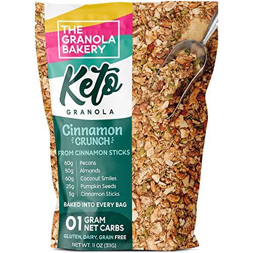 The Granola Bakery Keto Granola | Low Carb Keto Cereal | 1g Net Carb | Low Sugar, Keto Nut Granola | Small Batch, Hand Crafted | Cinnamon Pecan, 11 Ounces