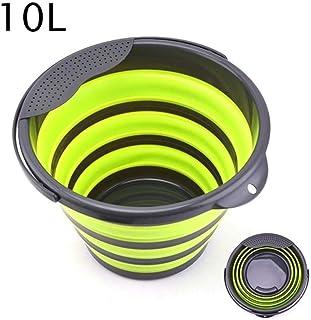NMBD Produit extérieur 4L / 10L Pliable Portable Seau Pliant Seau d'eau Conteneur avec poignée Robuste for la randonnée pé...