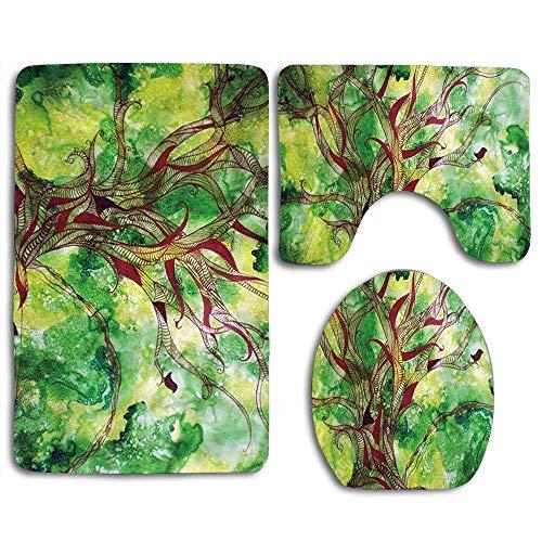Tapis de bain Ensembles Joint Tree Green Life pleine de tapis de contour Vigor Housse de couvercle de toilette en U, antidérapante, lavable en machine, ensemble de tapis 3 pièces plus facile à sécher