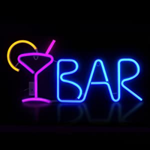 Neon Bar Sign Lights for Living Room Wall Decor, 8 LED Lighting Modes, Battery/USB Powered with Remote Control Adjustable Brightness for Birthday Party Christmas Wedding Bedroom Decor (Purple/Blue)