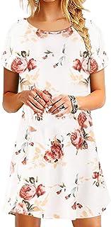 Damen Kleider Tunika Tshirt Kleid Kurzarm MiniKleid Sommerkleid für Damen Winter Kleider Brautkleid Rundhals