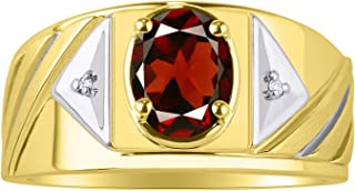 RYLOS Mens Ring with Oval Shape Gemstone & Genuine Sparkling Diamonds in 14K Yellow Gold Plated Silver .925-8X6MM Color Stone