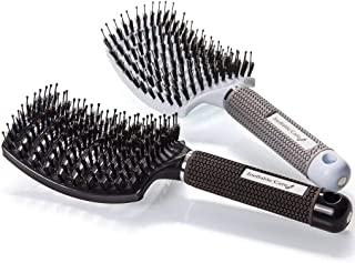 Boar Bristle Hair Brush set – Curved and Vented Detangling Hair Brush for Women Long, Thick, Thin, Curly & Tangled Hair Vent Brush - Stocking Stuffers Gift kit