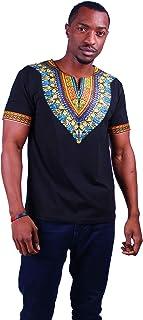 MCYSKK Men's African Fashion Short Sleeve T-Shirt Tops Dashiki Shirts Black