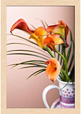 ArtzFolio Calla Lily Flower D1 Canvas Painting Natural Brown Wood Frame 12 X 17Inch
