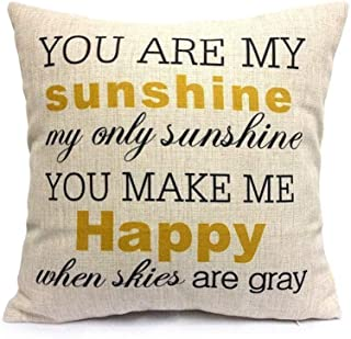 BTTU Cotton Linen Square Vintage Throw Pillow Case Shell Decorative Cushion Cover Pillowcase You are My Sunshine&You Make Me Happy 18 x 18 Inch