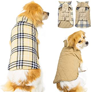 FAMI Dog Jackets for Winter Windproof Waterproof Reversible Dog Coat for Cold Weather British Style Plaid Warm Dog Vest for Small Medium Large Dogs