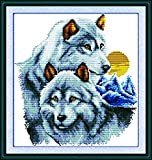Maydear Cross Stitch Kits Stamped Full Range of Embroidery Starter Kits for Beginners DIY 11CT 3 Strands - The Wolf Partners 16.1×16.9(inch)
