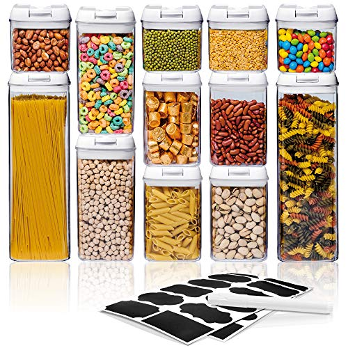 Airtight Food Storage Container Sets, Pantry Organization, Kitchen Organization, Pantry Containers, Larger Sizes with Interchangeable Lids,Premium Quality with Leak Proof Design-BPA FREE(12-Piece Set)