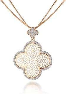 Ouran Long Necklace Women,Four Leaf Clover Pendant Necklace Girl Gold Silver Chain Necklace CZ Crystal