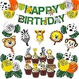 Kreatwow Decorazioni per Feste a Tema Jungle Baby Shower Safari Zoo Palloncini enormi a Forma di Testa di Animale per Le Decorazioni della Prima Festa di Compleanno