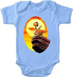 OKIWOKI Ice Age Lustiges Blau Kurzärmeliger Baby-Bodysuit Jungen - Scrat und Der König der Löwen Ice Age Parodie signiert Hochwertiges Baby-Bodysuit - Ref : 932