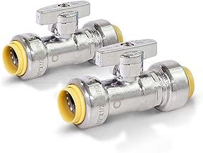 Pushlock UPSSP1212-2 1/4 Turn Straight Stop Valve Water Shut Off 1/2 x 1/2 Inch Push, 1/2