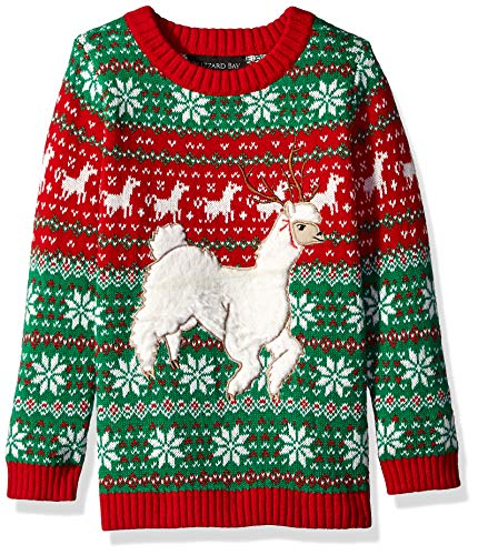 Blizzard Bay Boys Ugly Chrismas Sweater Animals, Green/red/White/Alpaca, 12-14 M