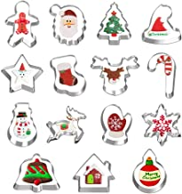 Hibery 15 Pcs Christmas Cookie Cutters, Holiday Cookie Cutters Including Snowflake, Snowman, Gingerbread, Christmas Tree, ...