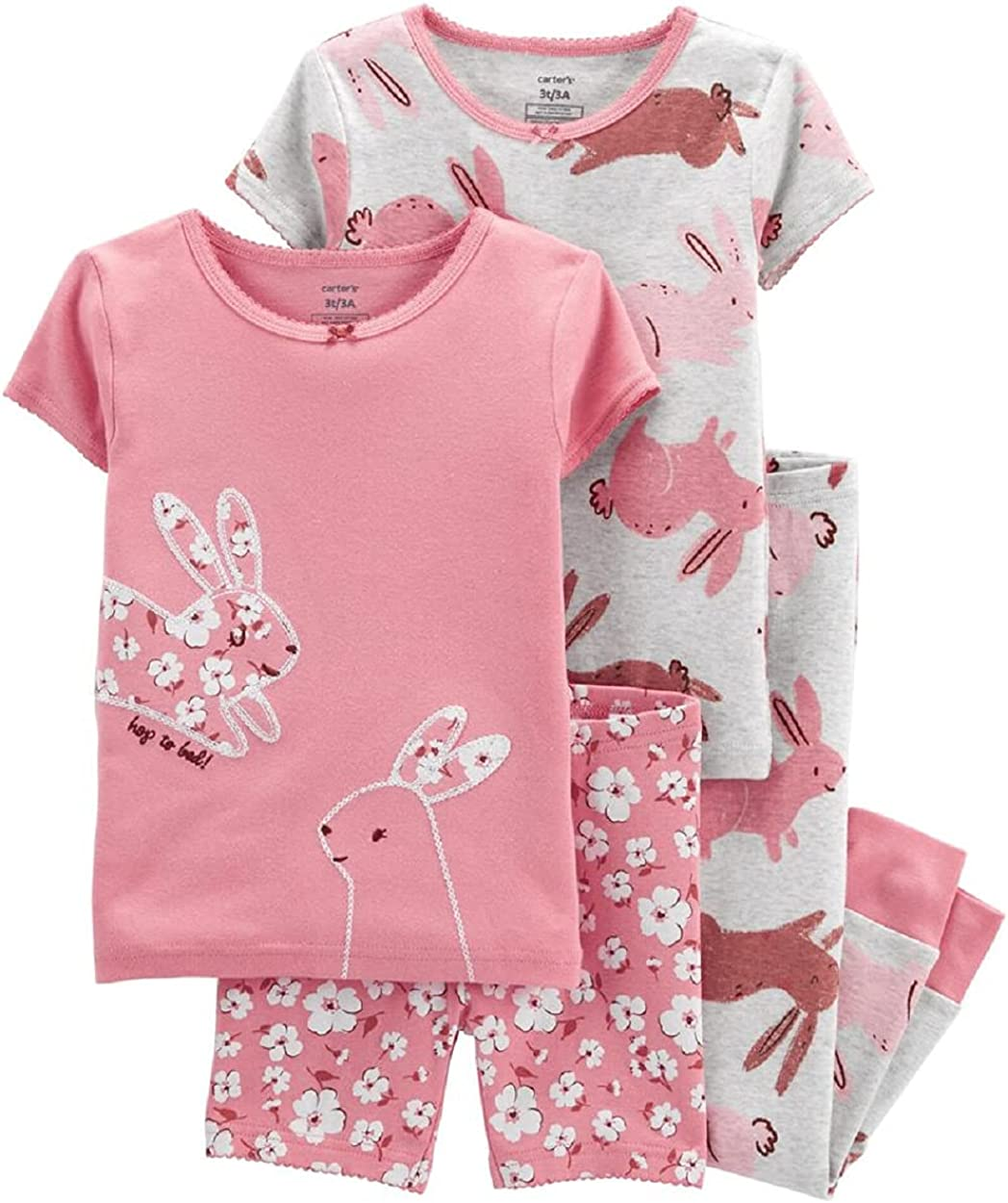 Carter's 4-Piece Bunny 100% Snug Fit Cotton PJs (18 Months) Pink
