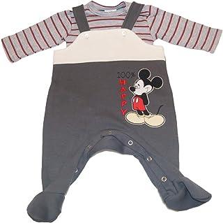 Kleines Kleid Junge Baby Strampler Langarm Dick warmes Outfit Einteiler-Anzug Schlaf-Overall in Größe 56 62 68 74 Mickey Mouse Disney Geschenk Winter Kleidung Erstausstattung