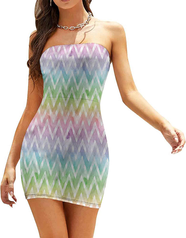 Women's Strapless Bodycon Club Dress Bent Lines Classic Motif Dresses