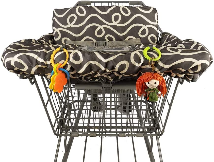 Dark Gray Curve 2-in-1 Shopping Cart Cover for Baby Padded Toddler ...