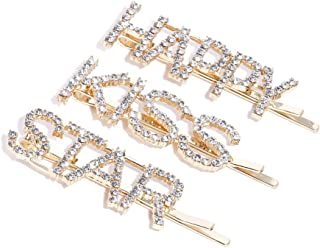 PRITA Gold& Off White Artificial Stones Gold Plated Hair Clips for Women and Girls