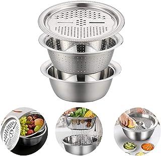 UEncounter 3pcs Multifunctional Kitchen Graters Stainless Steel Graters Basin Basket Washing Bowl Vegetable Slicer Fruits ...