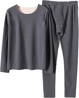 Freljorder Men's Thermal Long Sleeve Underwear Set, Warm Fleece Lined Top & Bottom, Men Thermal Underwear Stretch Top & Pa...