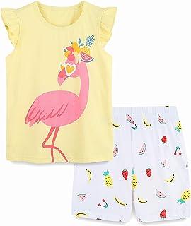 Girl Summer Short Set Cotton Outfits Short Sleeveless Tee...
