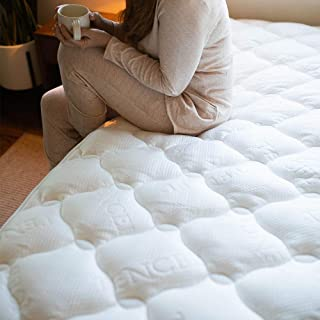Cardinal & Crest Ultra Plush Tencel Pillow Top Mattress Pad with Fitted Skirt - Hypoallergenic Moisture Resistant Mattress Protector - Filled with 9 Pounds of Fiber Fill - King Size