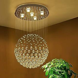 Sefinn Four Ball Shape K9 Raindrop Ceiling Light Modern Crystal Chandelier, H32 X D18, Single