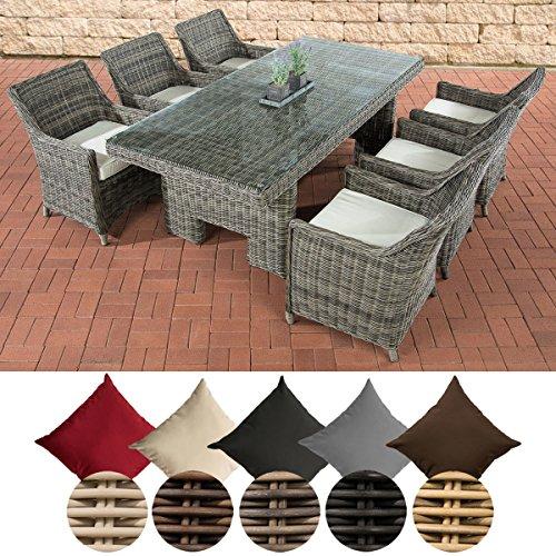 CLP Polyrattan-Sitzgruppe SANDNES inkl. Polsterauflagen | Garten-Set: EIN großer Esstisch mit Glasplatte und sechs Sessel erhältlich Grau Meliert, cremeweiß