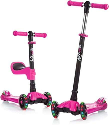 Lascoota Kick Scooter for Kids - Adjustable Height w/Extra-Wide Deck PU Flashing Wheels Great Kids Scooter & Toddler ...