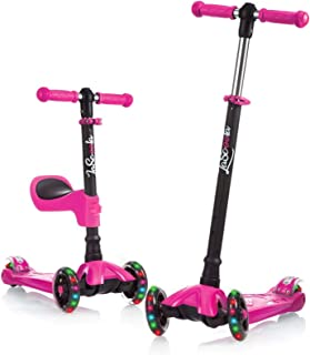 Lascoota Kick Scooter for Kids - Adjustable Height w/Extra-Wide Deck PU Flashing Wheels Great Kids Scooter & Toddler Scoot...