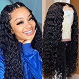 13x4 Lace Front Wigs Human Hair Pre Plucked 150% Density Brazilian Deep Wave Human Hair Wigs for Black Women Glueless Curly Lace Frontal Wigs Human Hair Natural Color(Deep Wave Wigs, 18 Inch)