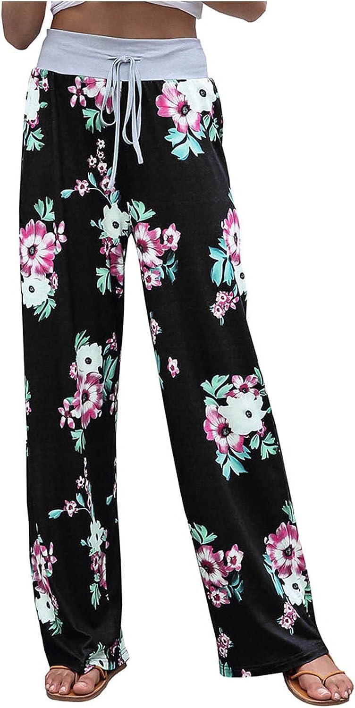 JPVDPA Women's Casual High Waist Loose Pants Comfy Yoga Pajama Pants Stretch Wide Leg Pants Floral Print Trousers