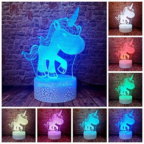 Unicornio 3D luz nocturna cargador USB decoración del hogar café fiesta juguete cumpleaños Navidad niños regalo