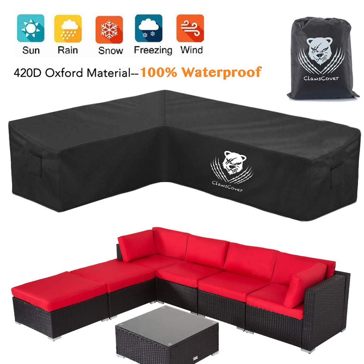 ClawsCover L-Shaped Sectional Sofa Covers Waterproof Outdoor Tear Proof  Patio Couch Cover Garden Furniture Protector,10 Windproof Straps,10 Air
