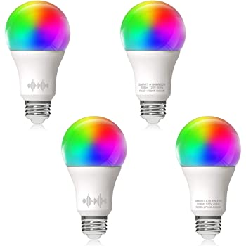 Helloify A19 LED Smart, WiFi Light Bulb Works with Amazon Alexa Google Home, RGBCW Color Changing, Cool Warm White Dimmable, No Hub Required, 60W Equivalent, RGB+2700K-6500K, 4 Pack